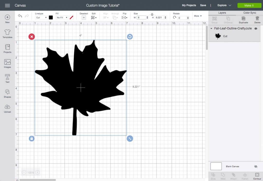 resizing a fall leaf custom cut image from cricut design space