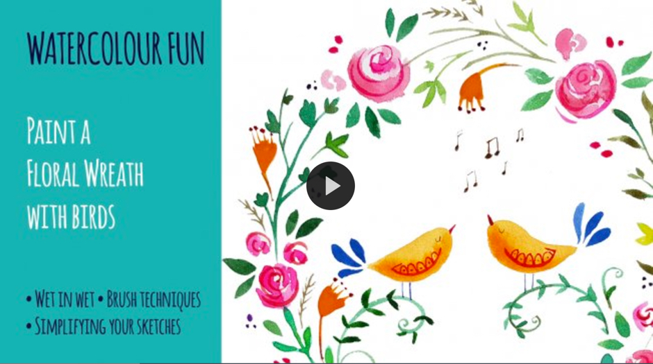Watercolor Fun Paint a Floral Wreath with Birds by Denise Hughes on SkillShare