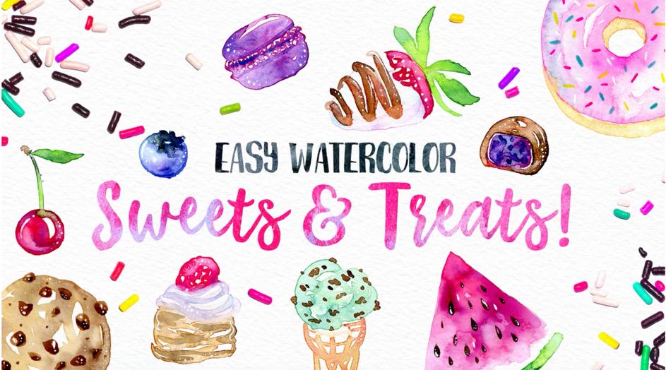 Easy Watercolor Sweets & Treats! by Yasmina Creates on SkillShare