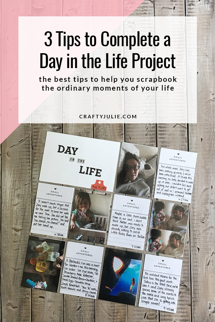Are you participating in Ali Edwards DITL project?  Use these three Day in the Life Scrapbook Tips to help you document the ordinary moments in your life.