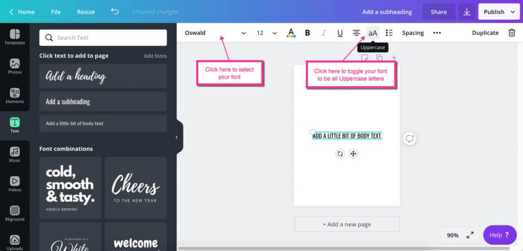 Canva project selecting font type and uppercase style option