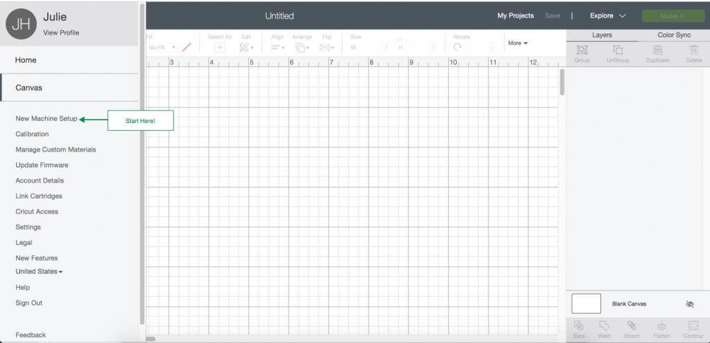 Cricut Design Space file menu showing New Machine Setup location