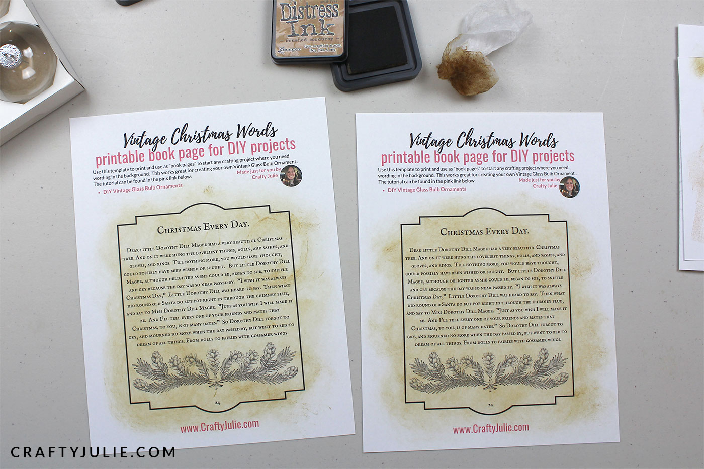 book page printables distressed with ink