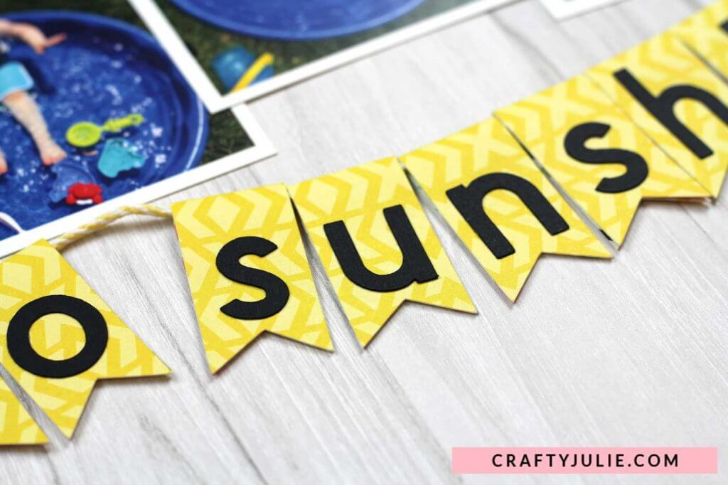 Crafty Julie | Echo Park Summer Fun Collection Kit Layout | Banner Flags created with Cricut