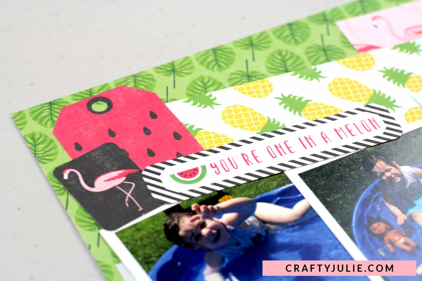 Crafty Julie | Echo Park Summer Fun Collection Kit Layout | Layering Tags
