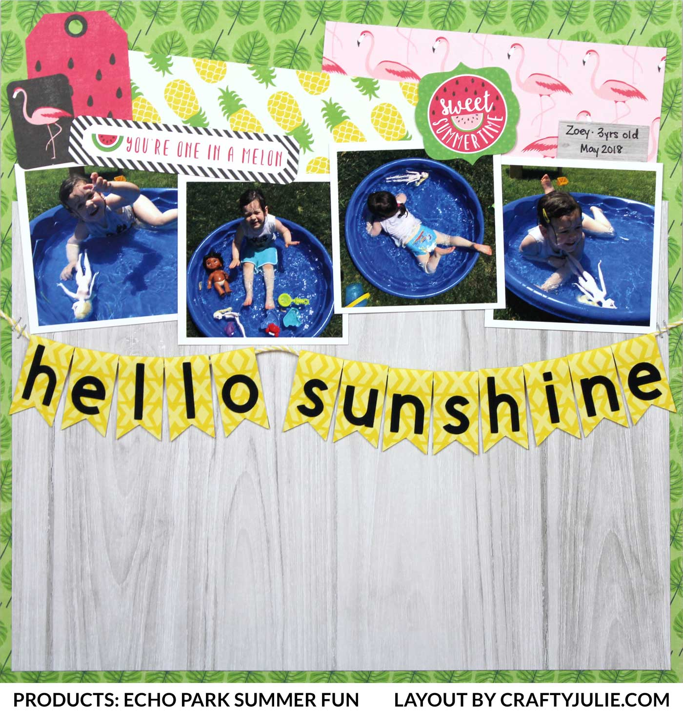 Crafty Julie | Echo Park Summer Fun Collection Kit Layout | 12x12 Scrapbook Layout
