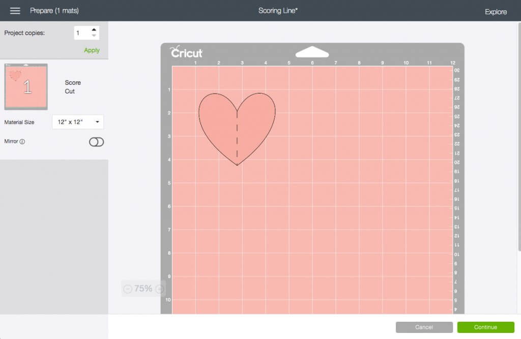 Final mat on Make It page of Cricut Design Space with pink heart and score line attached down the middle