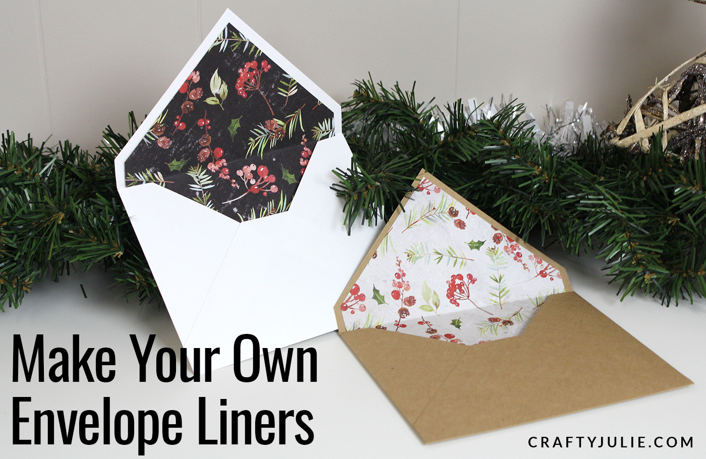 two handmade envelopes with custom liners attached