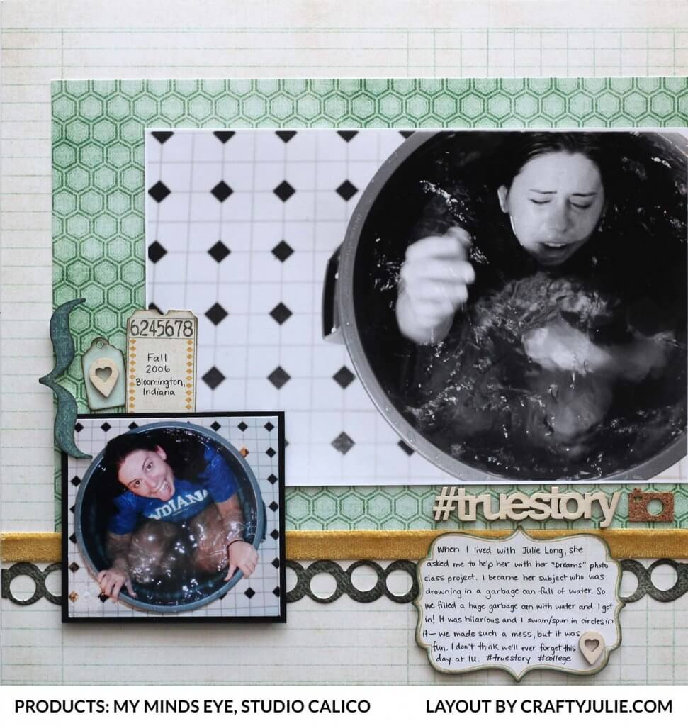 12 x 12 scrapbook layout using My Minds Eye products from 2009