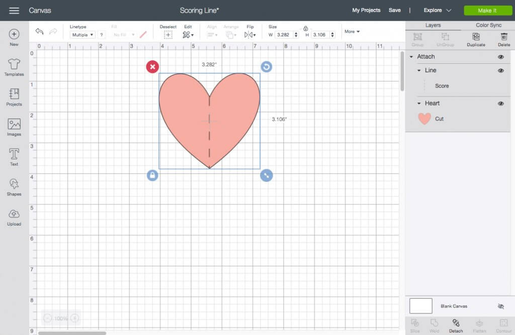 Score line and heart shape object attached together in Cricut Design Space