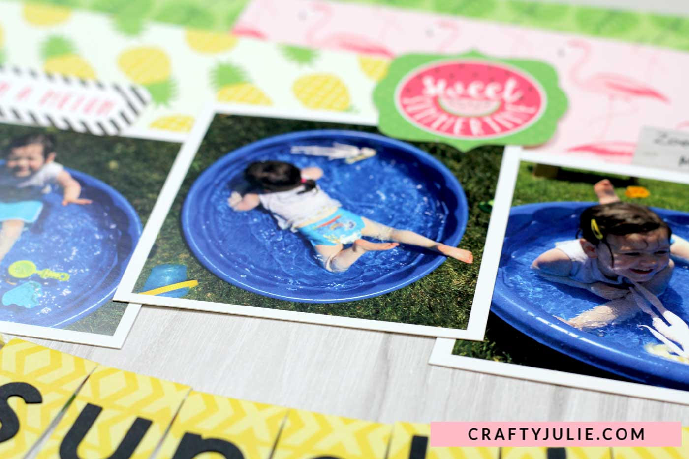Crafty Julie | Echo Park Summer Fun Collection Kit Layout | Press Print Close Up