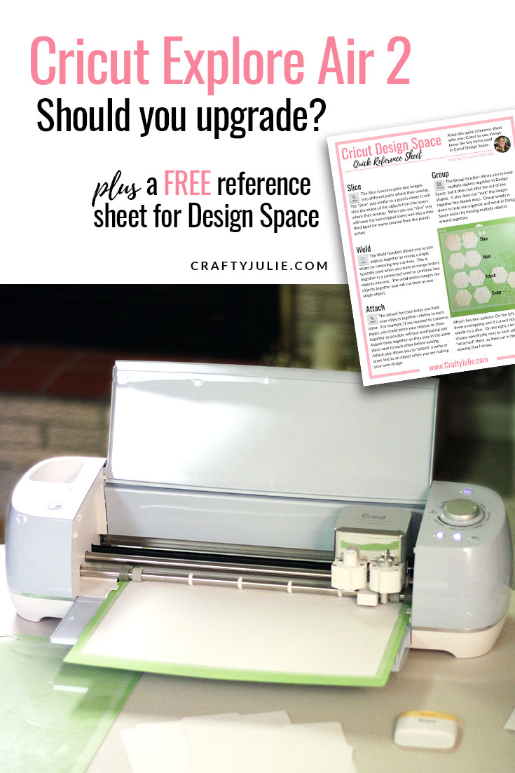Should you upgrade to the Cricut Explore Air 2?  An honest review from a scrapbooker who upgraded from the original Cricut.  Plus get a FREE quick reference guide for Cricut Design Space.