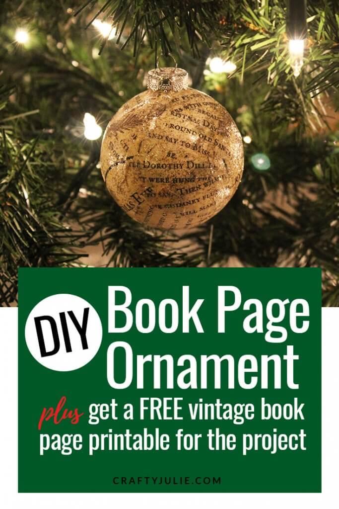 DIY Book Page Ornament | CraftyJulie