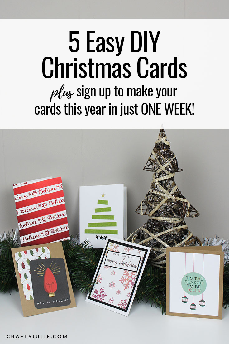 Find inspiration to create easy DIY Christmas cards with 5 different designs.  Plus, sign up for the email course that teaches you how to make Christmas Cards in just 7 days! #christmascards #diy #scrapbooking
