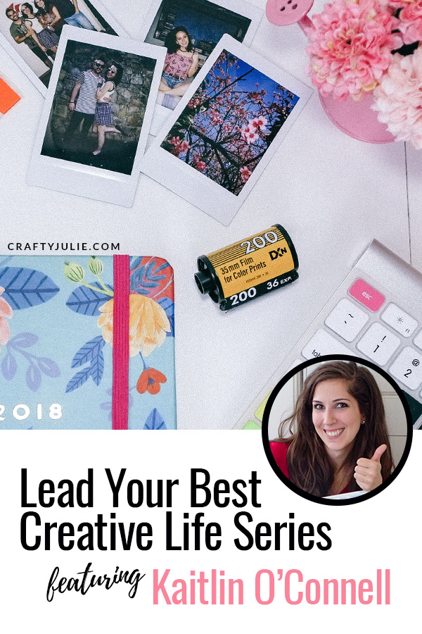 Find inspiration from other crafters in the Crafty Julie Lead Your Best Creative Life series.  This month featuring Kaitlin O'Connell of hellolovelylife and how she has been rocking her scrapbooking journey #scrappetite #creativeinspiration #projectlife #craftyjulie