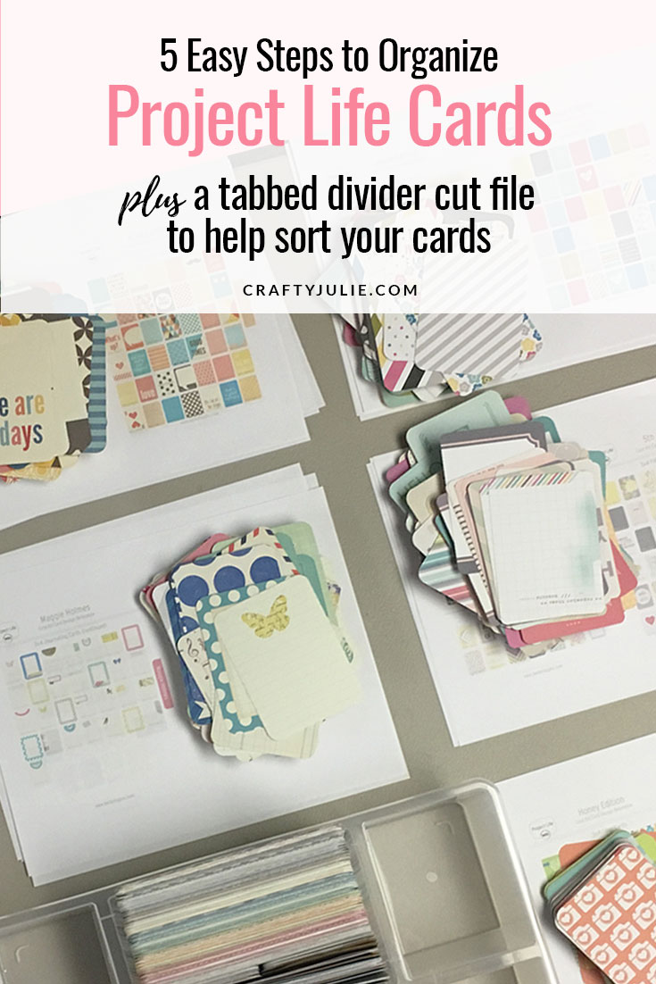 Feeling overwhelmed with all your Project Life cards?  The first step to using your supplies is to get them organized.  Follow these 5 easy steps to organize your Project Life cards, plus get access to a Cricut Cut File for Tabbed Dividers that fit in the IKEA Antonius Tray. #scrapbooking #projectlife #Antoniusorganization #craftyjulie