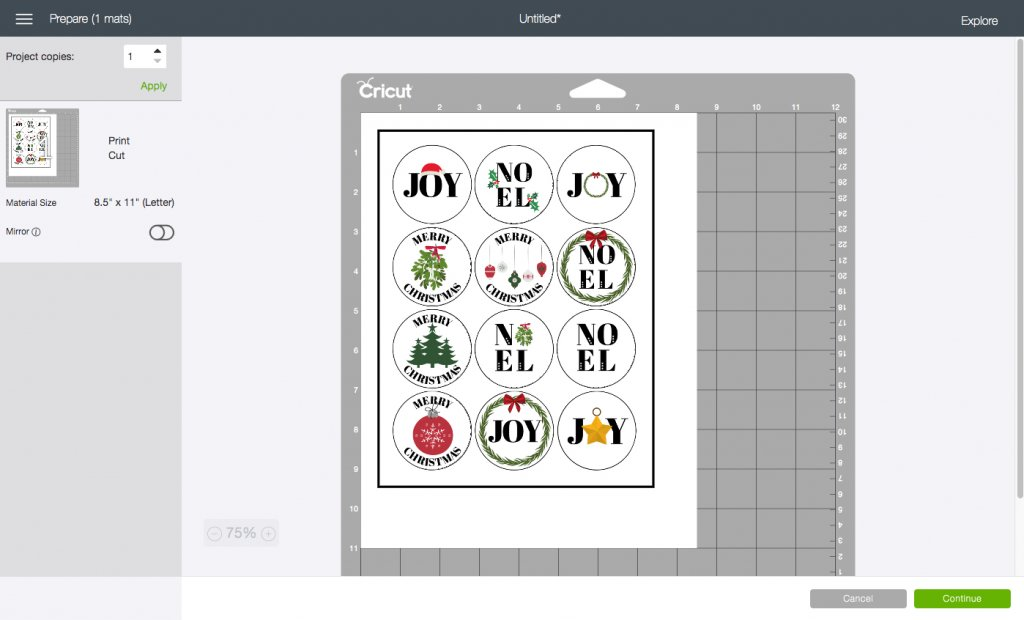 Prepare mats screen from Cricut Design Space for Holiday Envelope Stickers