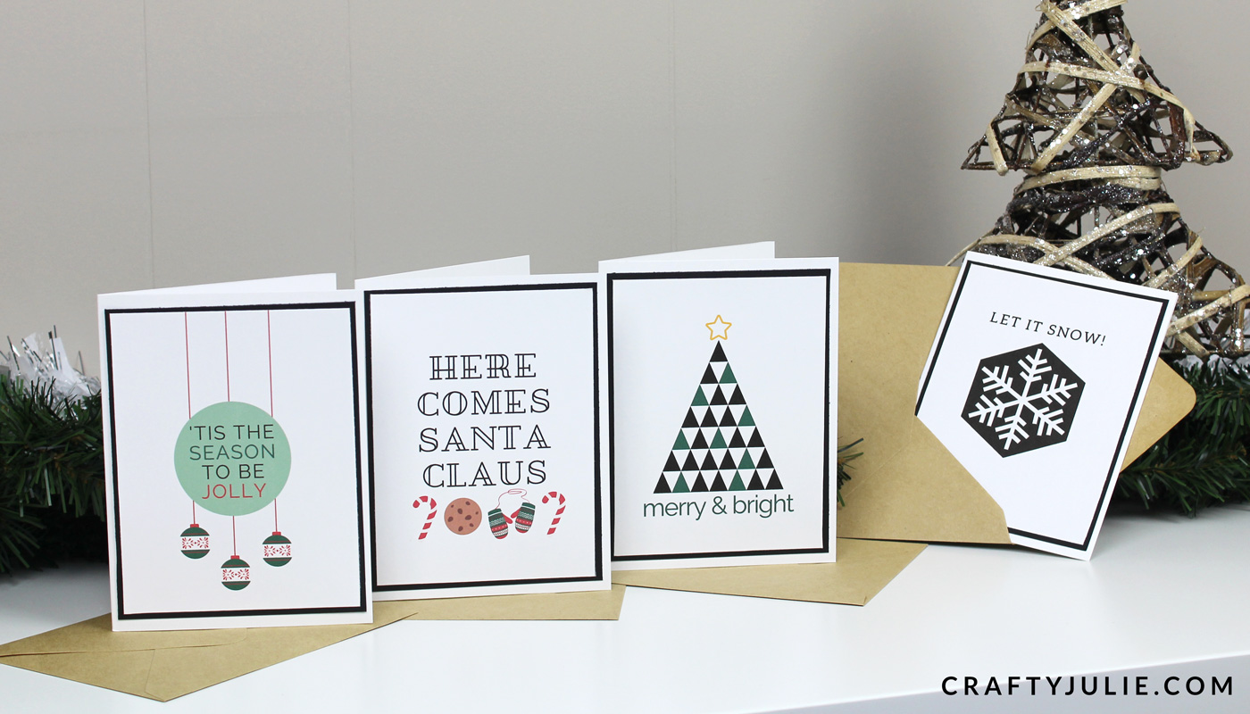 four printed custom designs easy DIY Christmas card