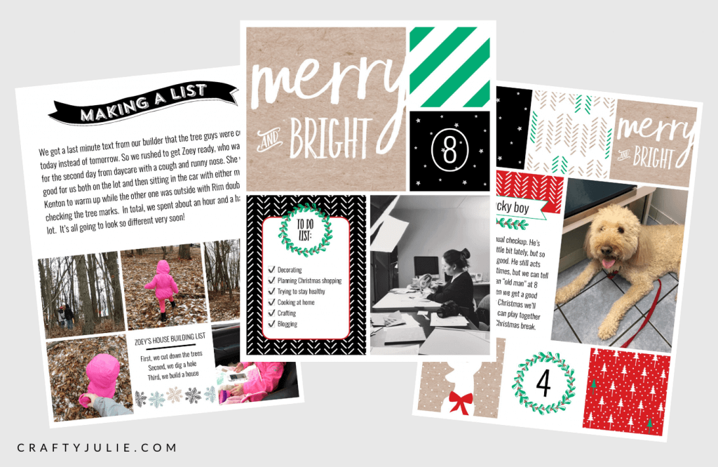 three 6x8 christmas December Daily layouts created from the Project Life App
