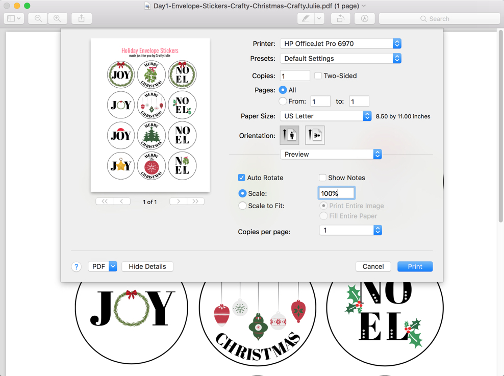 Scale options menu for printing PDF of DIY holiday envelope stickers