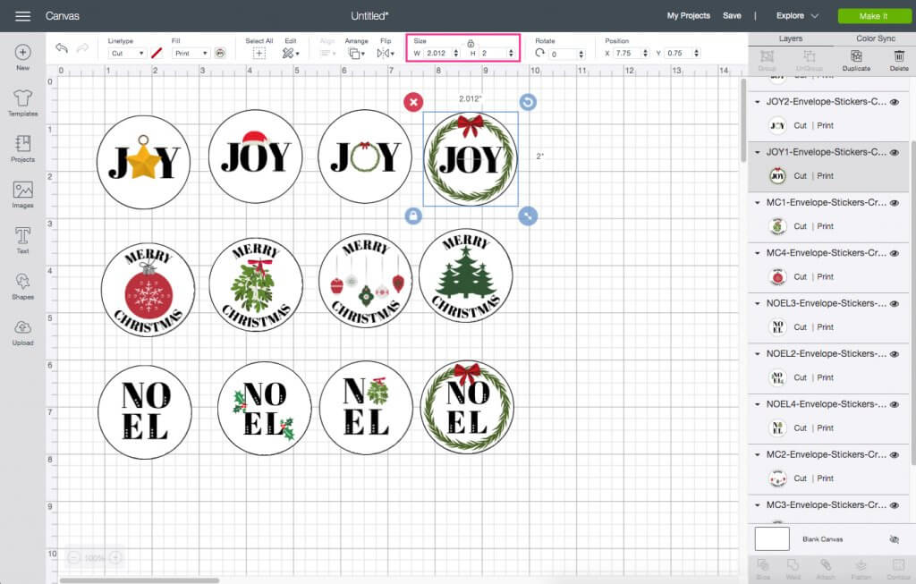 resize objects in Cricut Design Space DIY holiday envelope stickers