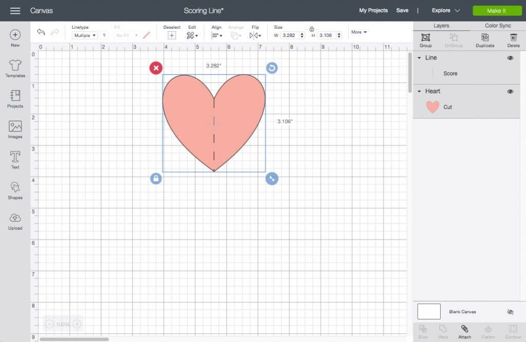 Pink heart and score line selected together in Cricut Design Space