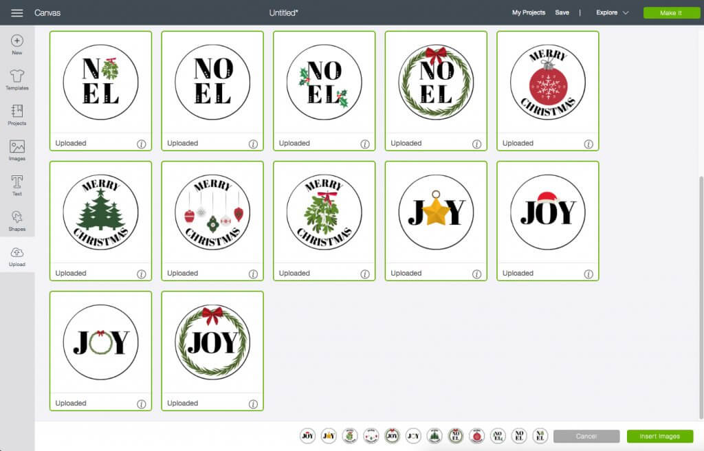 Select custom images to add to Cricut Design Space Project for DIY Holiday Envelope Stickers