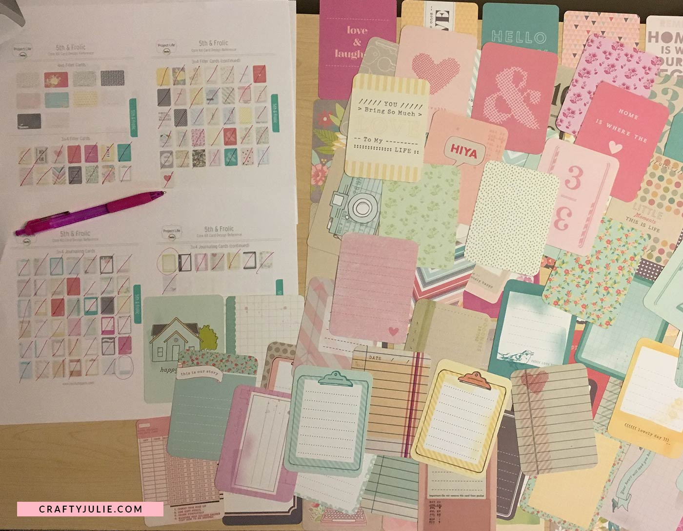 Crafty Julie | 5 Easy Steps to Organize Project Life Cards | Sorted Core Kit using Card Reference Sheet