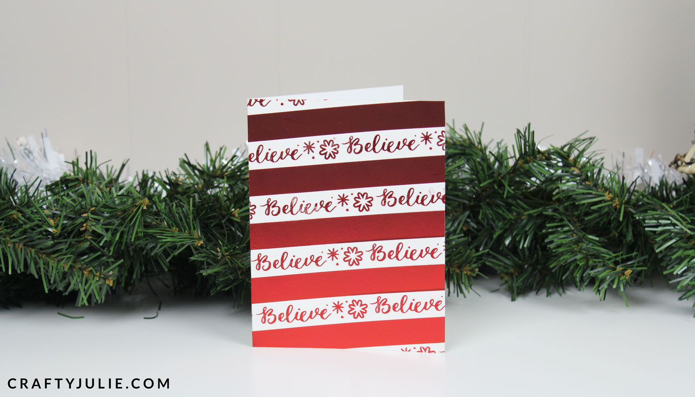 red and white washi tape easy DIY Christmas card